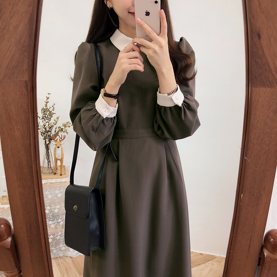 Winter Basic Dress Long Hot Women Fashion Japan Korean Style Design A Line Patchwork White Peter Pan Collar Vintage Dress 3212