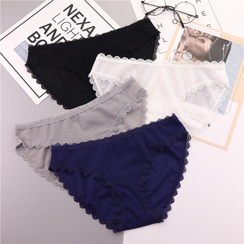 QUECOO 3pcs/lots Set suit cute sexy lace seamless underwear comfortable breathable womens underwear pants