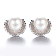 100% 925 sterling silver high quality imitation pearl shell design ladies`stud earrings jewelry wholesale Anti allergy gift