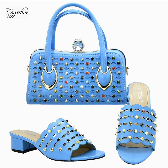 Elegan sky blue  African medium heel pump shoes matching with handbag set for fashion lady 111-1 heel height 4.5cmElegan sky blue  African medium heel pump shoes matching with handbag set for fashion lady 111-1 heel height 4.5cm