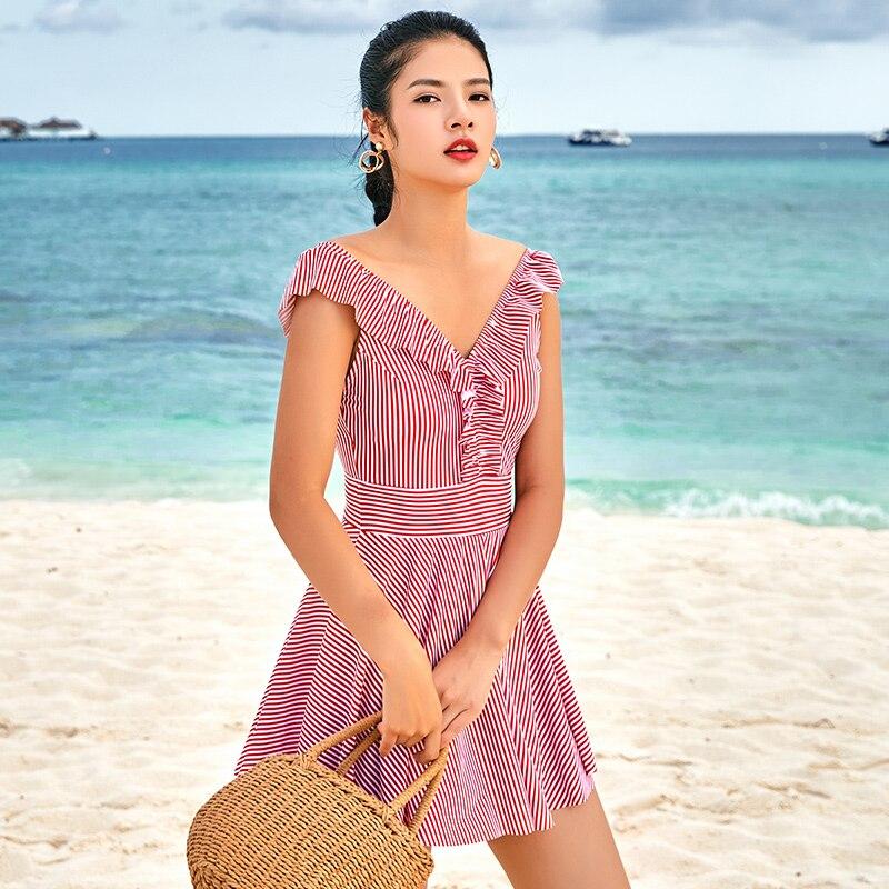361 Women One Piece Swimsuit Pink Stripe Skirt Swimwear Deep V Ruffles One Piece Bathing Suit 2018 New Ladies Hot Springs Bather