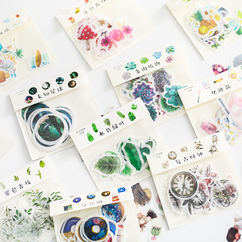 Kawaii Paper Original Handbook Sticker Watercolor Washi Sticker Cute Cartoon DIY Album Decoration Retro Fairy Sticker