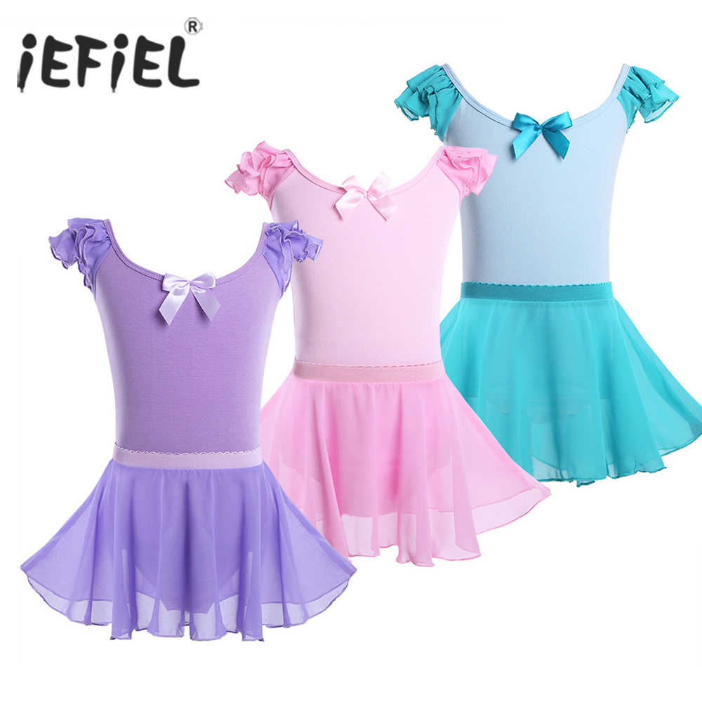 iEFiEL Kids Girls Dancing Bodysuit with Skirts U-shaped Dancewear Ballet Lyrical Dance Costumes Gymnastics Leotard for Kids