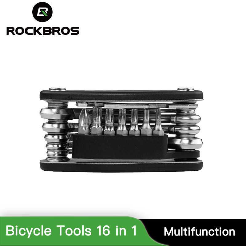 ROCKBROS outils de vélo 16 en 1 ensembles VTT Kit d'outils de réparation Multi vélo clé à outils tournevis à rayons hexagonaux VTT s