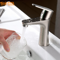 Free Shipping Hot And Cold 304 Stainless Steel Single Handle Bathroom Faucet Hole Basin Unleaded DONA1105