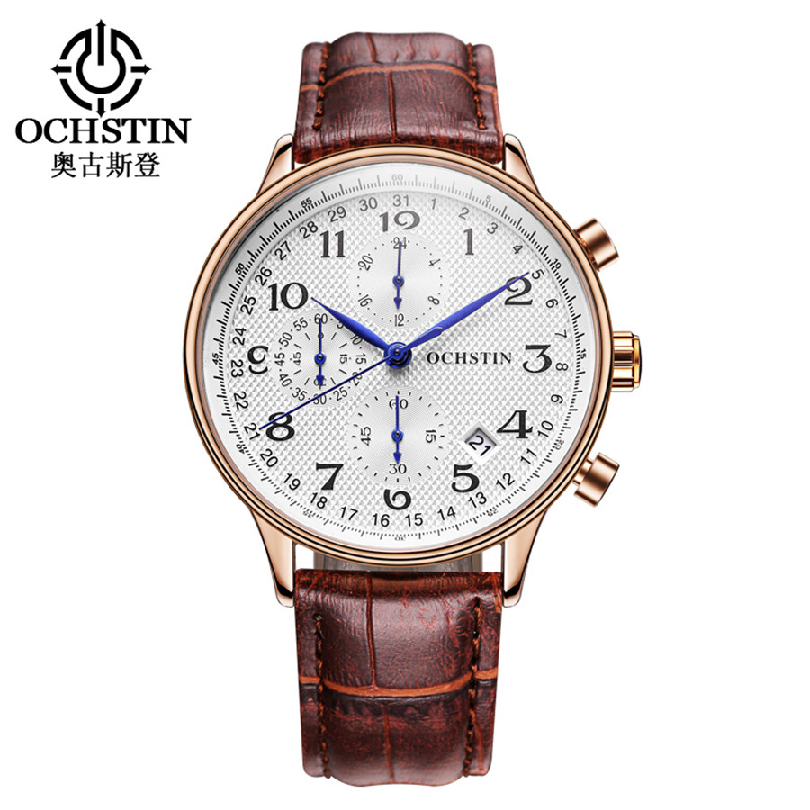 Rose gold case Fashion Blue pointer Chronograph Mens Watches Top Brand Luxury Quartz Watch Men Leather Waterproof Sport Watch-in Quartz Watches from Watches