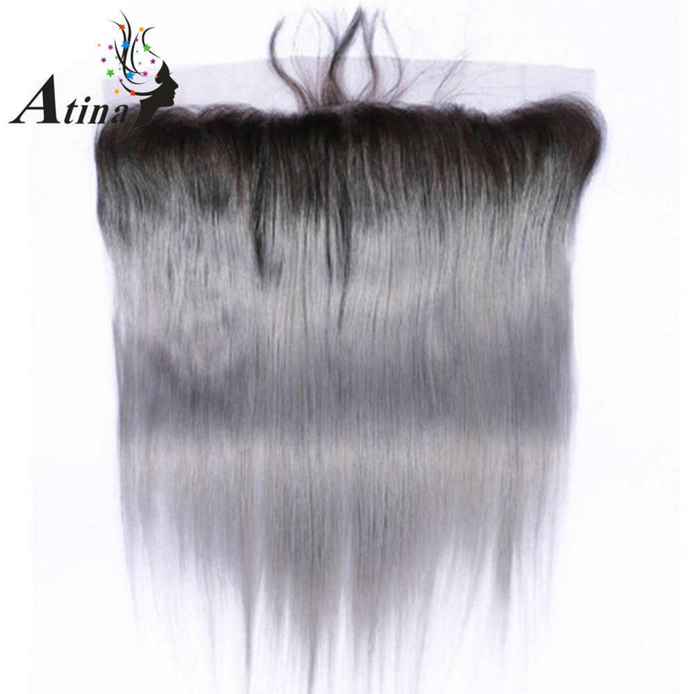 1B/серый бразильский прямой 3 пучка с закрытием серебро Омбре человеческие волосы кружева лобовое закрытие с пучком волосы Накладные натурального цвета Atina