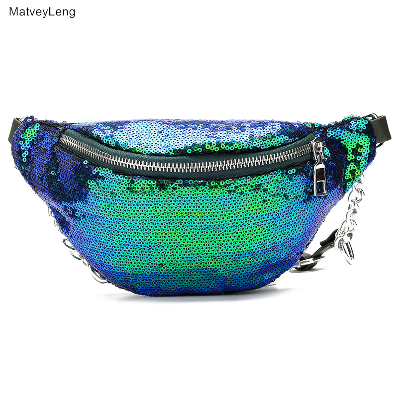 Super Hot Lady Fashion Sequins Waist Packs Functional Fanny Pack Multifunctional Waist Bag High Quality Belt Bag Free Shipping in Waist Packs from Luggage Bags