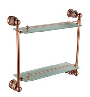 FREE SHIPPING new design 24k ROSE gold Crystal double glass shelf