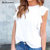 Women Summer Chiffon Sleeveless Sexy Blouses female blouse elegant Blue Gray white Work Office Top shirt loose blusas de mujer