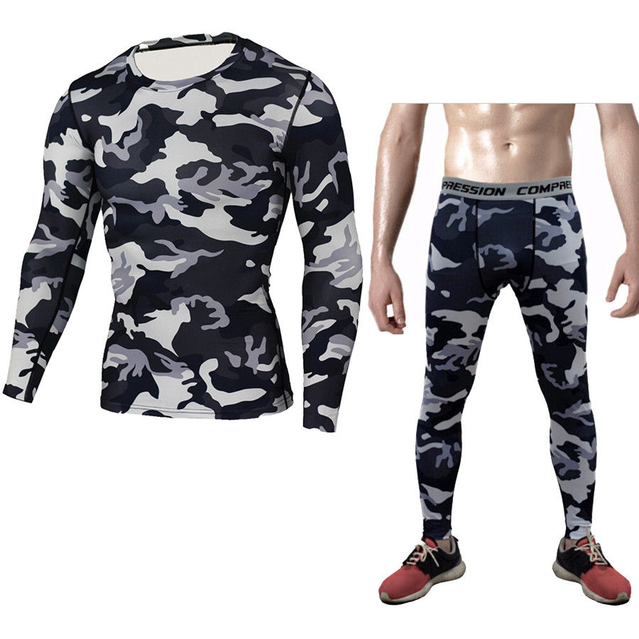 Camouflage Short Sleeve T-Shirt Men's Sports Tight Garment Fitness Clothing Outdoor T-Shirt Tight Pants Suit