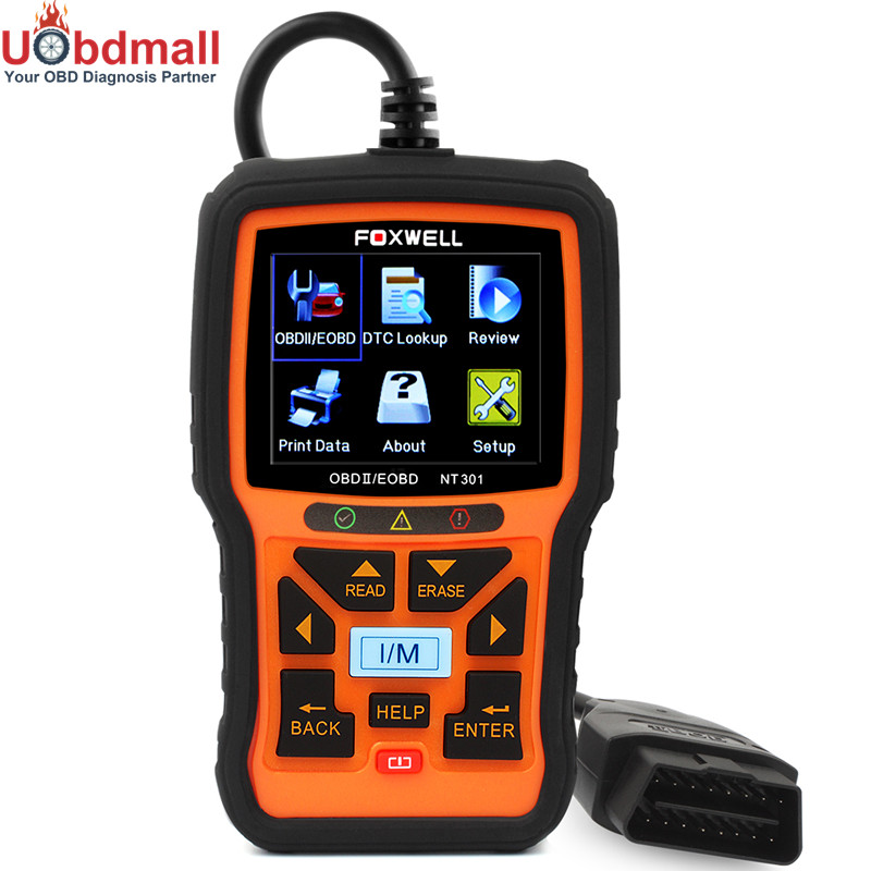 Original Foxwell NT301 EOBD OBD 2 Automotive Scanner with Engine Fault Code Reader CAN OBDII Diagnostic Tool in Russian Auto free shippinng diy om580 obd scanner automotive obd2 eobd car code reader for engine abs dsc srs fault diagnostic tool
