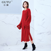 [GUTU] 2017 Autumn Winter New Korean Tide Solid Color Round Collar Long Sleeve Bat Type Pullover Knitting Dress Woman EA62201