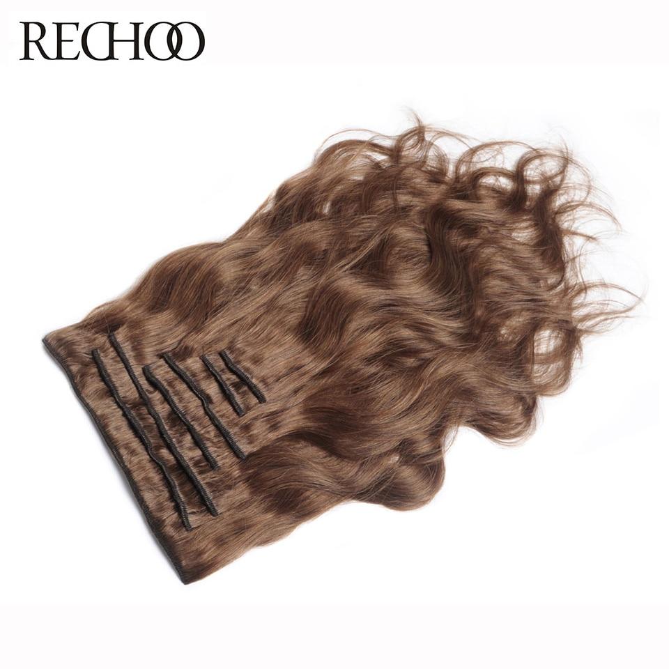 Rechoo Body Wave 100% Echthaar Clip in Verlängerungen Full Head Set - Menschenhaar (für Weiß) - Foto 2