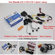 Liislee Car Parking Sensors + Rear View Camera = 2 in 1 Visual / BIBI Alarm Parking System For Mazda CX-7 CX7 CX 7 2007~2013
