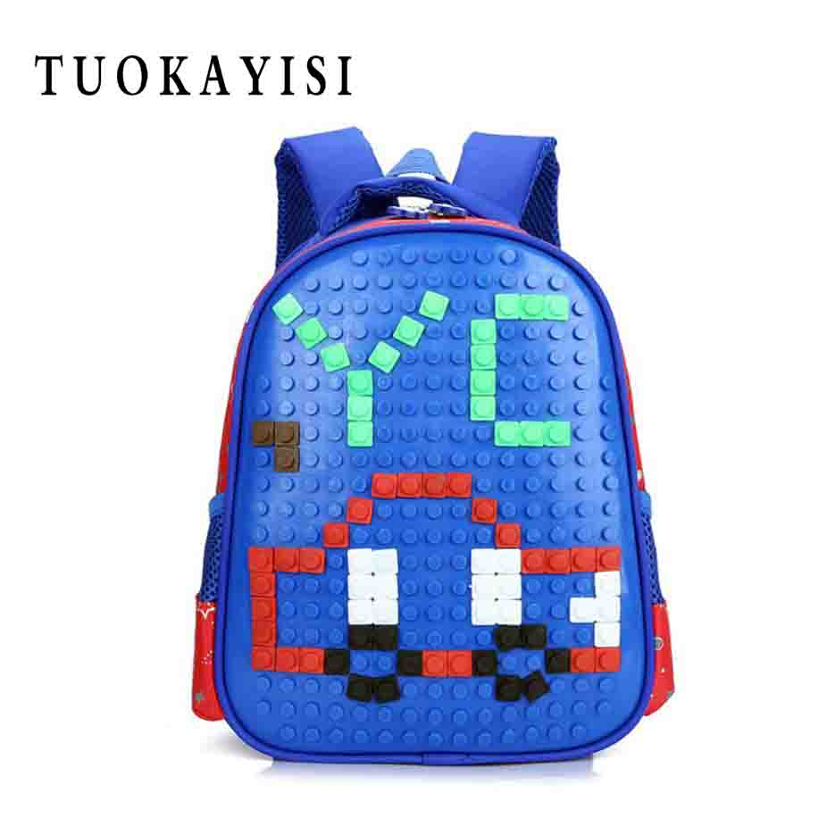 New Quality DIY Puzzle School Bags for Girls 3D Bear Print SchoolBag Children Orthopedic ...