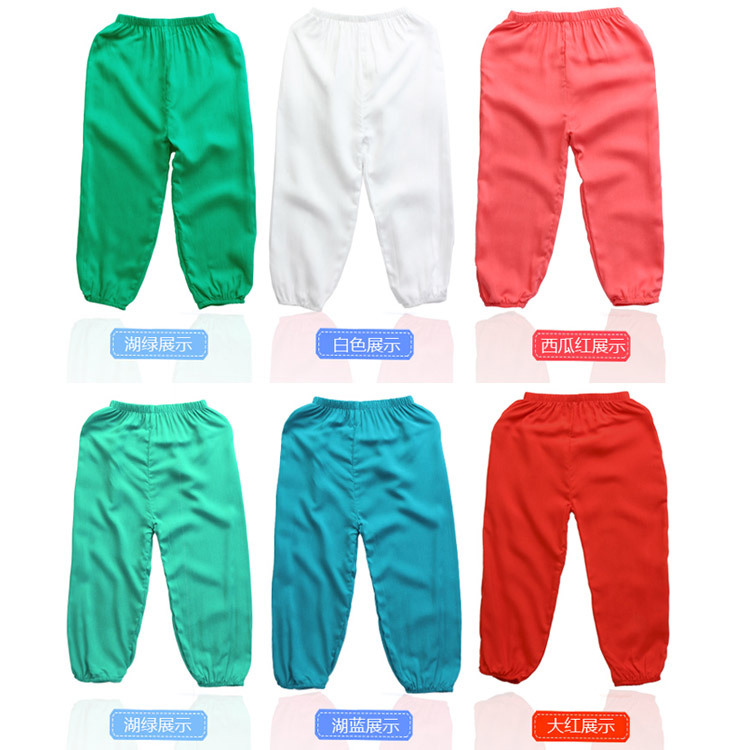 Children's lantern pants summer anti-mosquito air conditioning pajamas yoga dance pants 2-16 year-old solid cotton sports pants