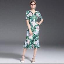 2017 Del Progettista della pista di Estate delle Donne del Vestito Sexy Scollo A V Stampato Floreale Guaina Aderente Sexy Della Sirena Casual Abiti vestidos