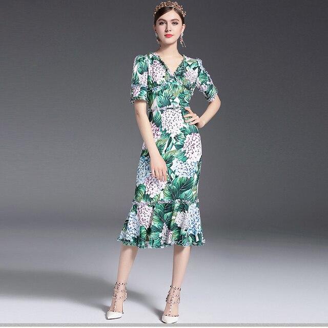 2017 滑走路デザイナーの女性のセクシーな v ネックの花プリントシースボディコンセクシーなマーメイドカジュアルドレス vestidos