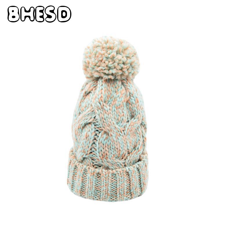 BHESD 2017 Women Winter Beanie Hat Crochet Knitting Woolen Cap Female Pompons Ball Warm Gorros Outdoor Hats Bones Gorro JY-33