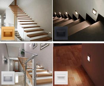 85-265V 1.5W Outdoor indoor LED Step Light Waterproof Stair Light Wall Embedded Underground Lamp Lighting Deck Footlights 86 image
