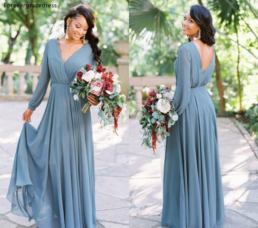 African Black Girls Bridesmaid Dress 2019 Chiffon Summer Country Garden Formal Wedding Party Guest Maid Of Honor Gown Plus Size