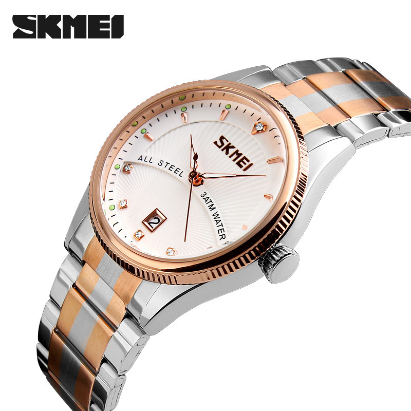 SKMEI Top Brand Luxury Fashion Mens Watches Auto Date Full Steel Business Casual Quartz Wristwatch Male Sport Relogio Masculino цена