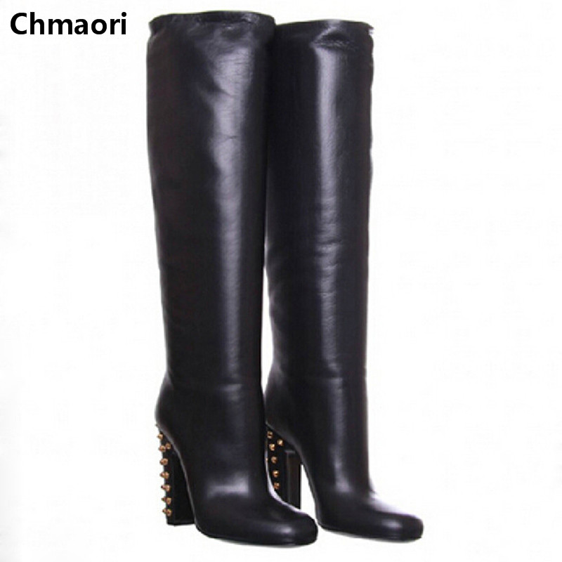 Free shipping knee high boots winter round toe rivets chunky heel winter women boots sexy high heels fashion shoes for women 2015 hottest drop shipping vintage round toe strappy zip knee high boots studs chunky heel leather boots women high heels j459