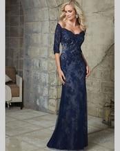 Kaftan Design Navy Blue Lace Mermaid 2016 Party Formal Long Evening Dress Gowns With Sleeves Vestido De Festa Dresses