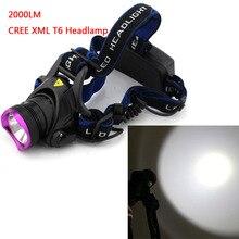 De alta Potencia de 2000 Lúmenes DEL CREE XM-L T6 LED de la Linterna Del Faro 3 Modos de Acampar Al Aire Libre LED Recargable Luz Principal de La Lámpara