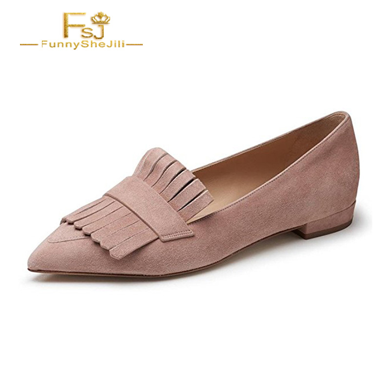 Nurse 2017 Fashion Pink Narrow Band Ballet Flats Pointed Toe Slip On Shoes Women Zapatos Senora Designer Dress Shoes FSJ Size 47 2017 new fashion women summer flats pointed toe pink ladies slip on sandals ballet flats retro shoes leather high quality