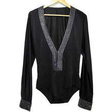 New style child latin dance costumes spandex diamond long sleeves latin dnace shirt for boys latin dance competition shirt