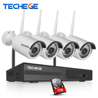 Wireless CCTV Security 4pcs WIFI IP Camera Waterproof 1 0MP CCTV Camera 4CH NVR System P2P