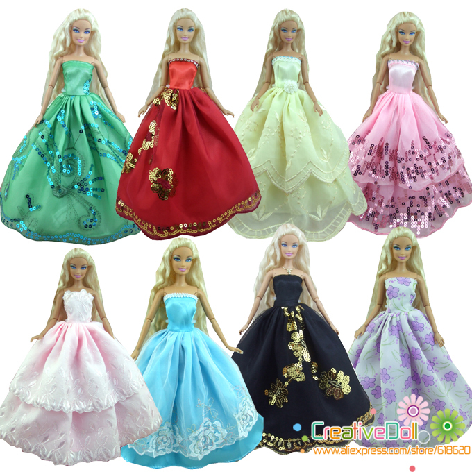 new arrival 15 items = 5 Wedding Dress Princess Gown +5Pairs Shoes + 5 accessory Clothes For Barbie Doll baby girl birthday gift 2 items 1dress 1 set accessories 1pair earing 1necklace little girls s gift luxurious wedding dress for barbie doll