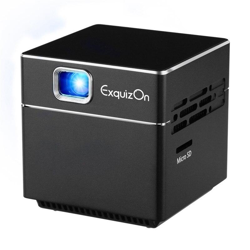 Projecteur DLP portable Exquizon S6 projecteur de poche sans fil WIFI mini projecteur intelligent 1080 P compatible HD cinéma maison projecteur 2500 mAH