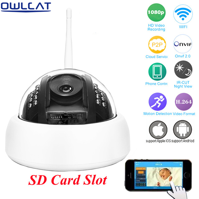 OWLCAT HD 960P 1080P WIFI Dome IP Camera Onvif Night Vision Home Video Surveillance Smart Network CCTV Security Camera SD Card remote control dvr dome camera led array sd card tv output up to 20m night vision dome camera recorder free shipping