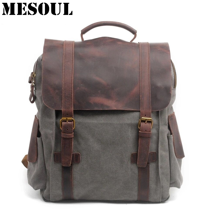 Men Casual Canvas Backpacks Vintage School Bags Young Large Capacity Travel Bag Women Mochila Leather Laptop Backpack Rucksack