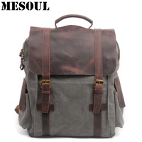 Men Casual Canvas Backpacks Vintage School Bags Young Large Capacity Travel Bag Women Mochila Leather Laptop Backpack Rucksack