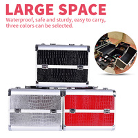 Hot professional Aluminium PU Make up Box Makeup Case Beauty Case Cosmetic Bag Multi Tiers Lockable Jewelry Box for gift