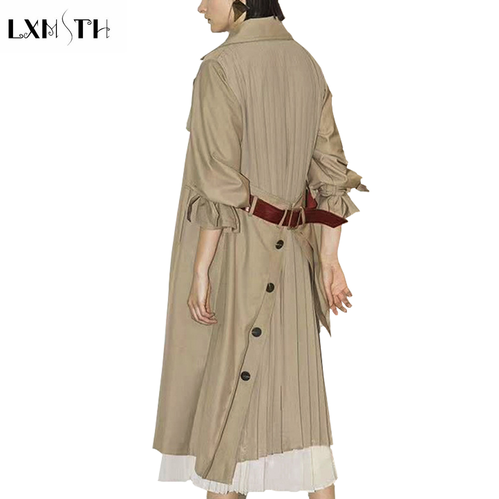 LXMSTH 2019 Spring Autumn Behind Belt   Trench   Lady Fashion Elegant Patchwork   Trench   Single Breasted Slim Long Runway   Trench   Coats