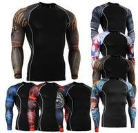 דחיסת 2017 Mens חולצות 3D וולף Teen גברים כושר חולצה גופיות שרוול ארוך T חולצות מותג גרביונים לייקרה MMA קרוספיט Clothi