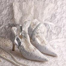 Wedopus Женщины Свадебные Сапоги Свадебные Серебряные Кружева Острым Носом Колено Весна Осень Сапоги с шнуровке