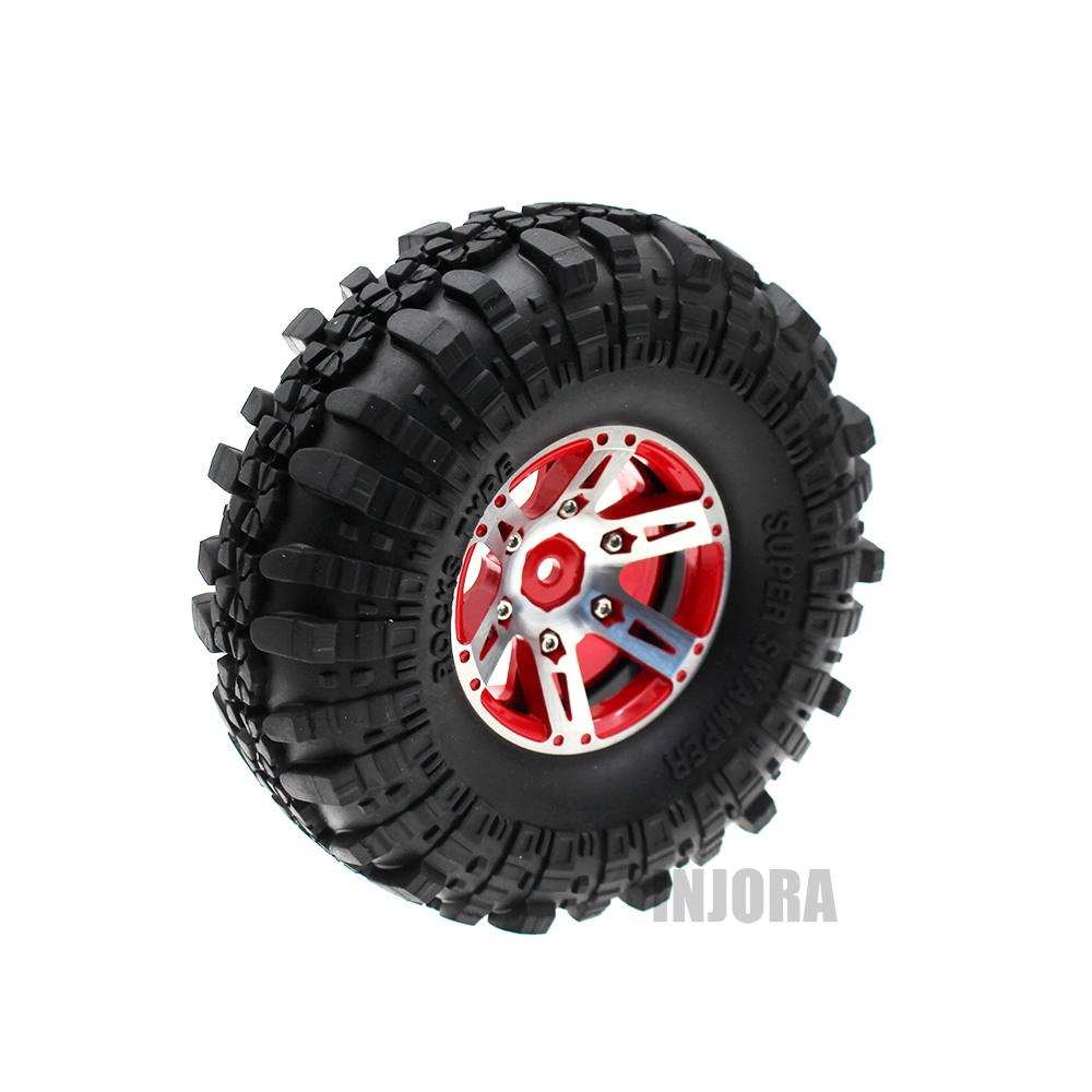 INJORA 4Pcs/Set 1.9'' Rubber Tires & Metal Wheel Rim for 1:10 RC Crawler Axial SCX10 90046 90047 Tamiya CC01 D90 D110 TF2 1 9 metal alloy wheel hubs 1 9 inch beadlock wheel rims for 1 10 rc crawler scx10 90022 90027 90046 90047 cc01 trx4 tf2