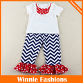 Wholesale New Hot Sell Chevron Girl Outfits White Short Sleeve Top With Polka Dot Bib And Chevron Ruffle Pants Set Free Shipping