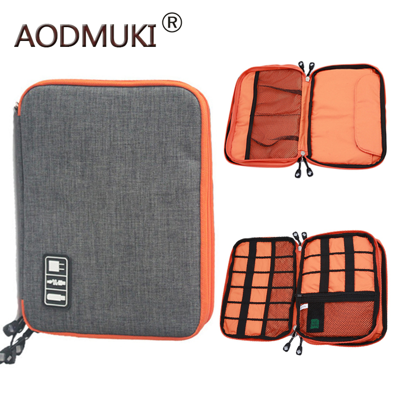 waterproof Ipad organizer USB data cable earphone wire pen power bank travel storage box kit case digital gadget devices-in Storage Boxes & Bins from Home & Garden