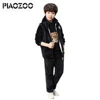 Top quality boysclothes set winter warm Children's Clothing Thick tiger headHoodies+Pants+Vest 3pcs Sets boys outfits 2018 P20