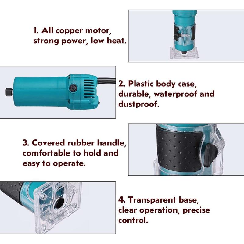 כלים יד Eu Plug, 220V 1200W 1/4 Carving אינץ מכונת אדג גוזם כלים Power 35000R / מינ חשמלי יד גוזם עץ למינציה נתב אד (4)