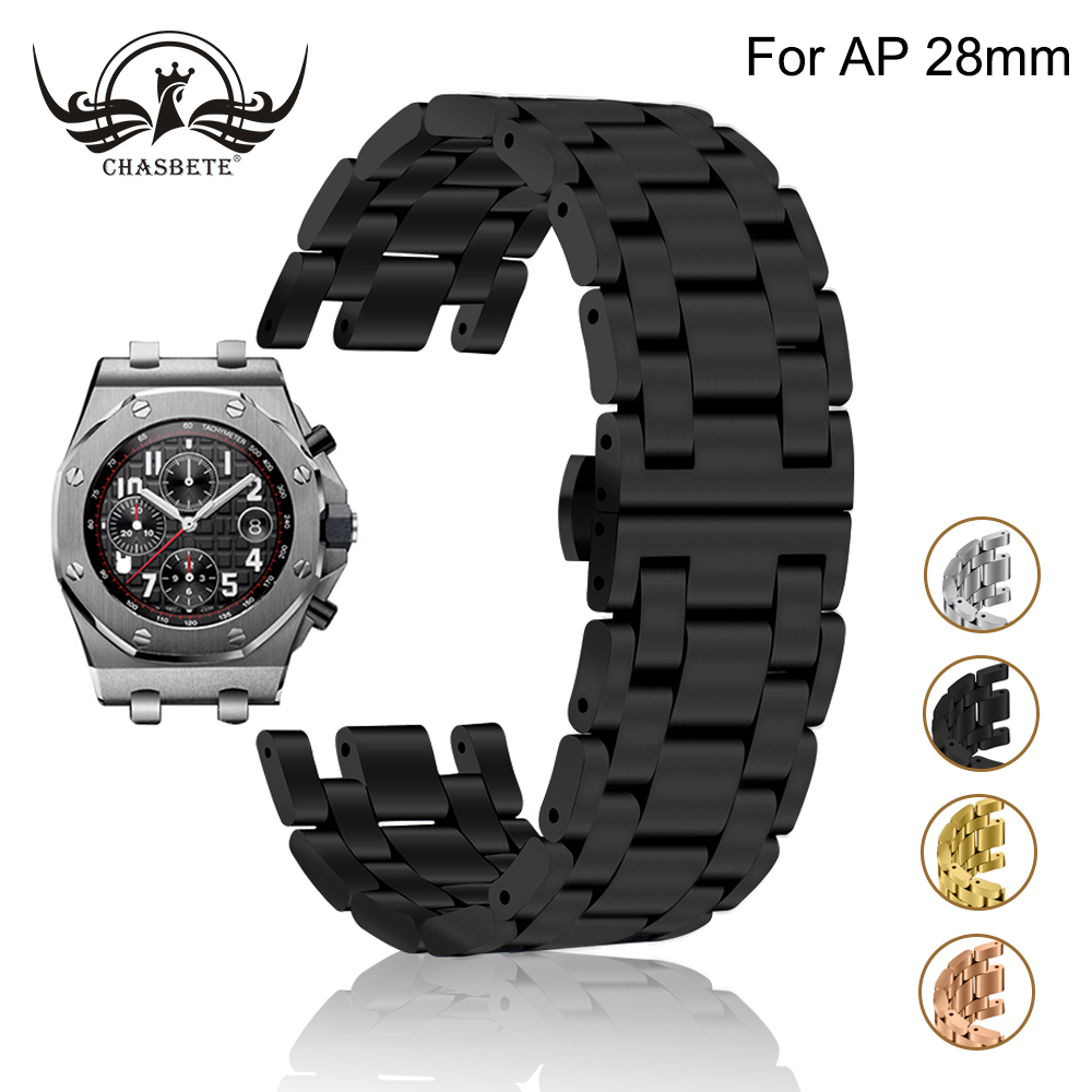 Bracelet de montre en acier inoxydable pour AP Audemars Piguet chêne Royal Bracelet de montre 28mm Bracelet en métal Bracelet boucle de poignet Bracelet noir argent