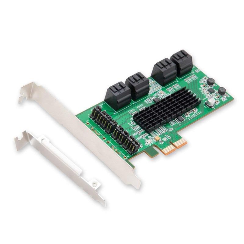 Pcie SATA III 6 Gbps 8 Ports Carte Contrôleur PCIe 2.0x2 à Bas Profil Brac pci-express vers SATA Adaptateur d'expansion