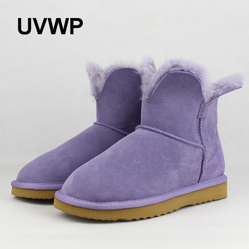 UVWP High Quality Women Fashion Snow Boots Genuine sheepskin leather Warm Natural Fur Winter Shoes real wool women ankle boots  цена